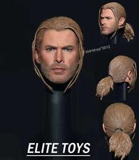 """Thor 1/6 Man Head Braid Sculpt PVC Carved Model ELITE TOYS Fit 12"""" Action Figure"""