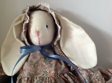 Primitive Hand Made Folk Art Girl Bunny Rabbit Doll Spring Print Dress & Bonnet