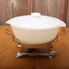 Vintage Fire King Casserole Dish and Electric Warming Tray