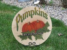 """Large Wood Halloween Sign w/ Stand """"Pumpkin's For Sale Primitive Farm Fall Decor"""