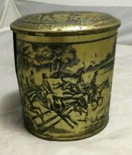 """Old Oval Tin with Hunting Scene Embossed ~Vintage Tin ~6"""" Tall ~VGC (SC11)"""