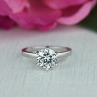 Solid 14K White Gold Over 1.90 CT Round Cut Simulated Moissanite Engagement Ring