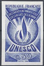 SERVICE N°39 DROITS DE L'HOMME ESSAI COULEUR BLEU PROOF IMPERF 1969 NEUF ** MNH