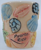 Puerto Rico Souvenirs Shot Glass Hand Panted Beach with Shells