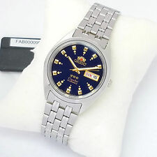 ORIENT 3 Star Automatic Watch Mens SILVER tone Dark Blue Dial FAB00009D9 New