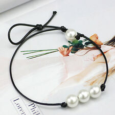 Women Fashion Jewelry Three Pearl Pendants Black Leather Cord Choker Necklace
