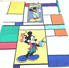 Vtg Cool Mickey Mouse Twin Bedding Fitted Sheet + 2 Pillowcases 80s Disney Kids