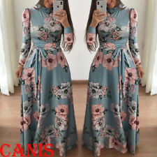 Plus Size Ladies Long Sleeve Floral Sundress Boho Women Party Bodycon Maxi Dress