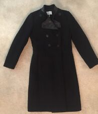 Sandro Wool-blend Lamb Leather Trim Coat Black Size 38 M  Women's Lined