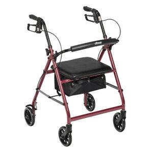 Drive Medical McKesson Rollator Folding Walker RED Adult 4 Wheels R726RD ~NEW~