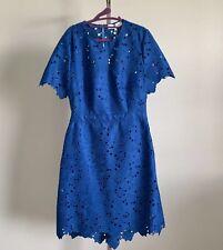 Diane Von Furstenberg French Blue Alma Lace Eyelet Cut Out Dress Size 14 $498