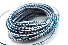 10 yards 30 feet 3Mm Royal Blue White Braided Bolo Leather Lace Cord Roll Spool