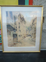 tableau ancien aquarelle cadre rue faubourg signé pratx Bernard peintre Lyonnais