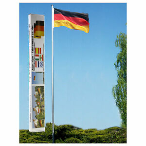 Fahnenmast 4m / 6m inkl. Deutschland-Fahne Aluminium Flaggenmast Flagge Germany