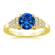 1.50 Ct Round Blue Sapphire Diamond Engagement Ring 14K Yellow Gold Rings Size N