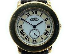 AUTHENTIC! Must De Cartier Vermeil 1810 Ronde 33mm Quartz Watch