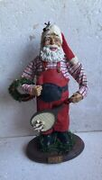 "10"" Santa Claus With Tennis Racket & Wreath 1993 Vintage Christmas Decoration"