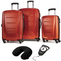 Samsonite Winfield 2 Fashion Hardside 3Pcs Spinner Set Orange + Pillow & Scale