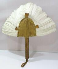 Vintage Tribal Art Leather & Feather Hand Fan
