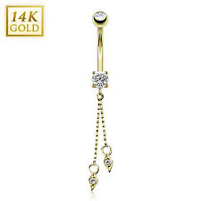 14K. Solid GOLD BELLY Button NAVEL RING Body Piercing Jewelry *CLEAR CZ DANGLE