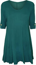 New Plus Size Womens Plain Swing Flared Ladies Short Sleeve Scoop Neck Top 14-28