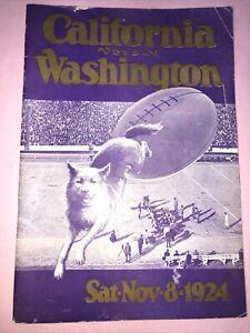 1924 College Football Game Program: Cal Bears Vs. UW Huskies