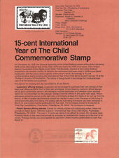 #7903 15c Year of the Child Stamp #1772 Souvenir Page