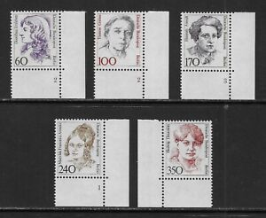 GERMANY - BERLIN - 1986/9 - FAMOUS GERMAN WOMEN - (5V)  - CORNERS - MNH