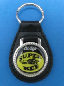 DODGE SUPER BEE BLACK LEATHER KEYRING KEYFOB #177