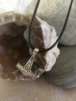 Thors Hammer Necklace Mjolnir Viking Nordic Celtic Avengers Runes Silver Pendant