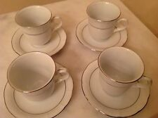 T K Czechoslovakia Menuet Small Cup & Saucer. White silver trim.Set of 4.