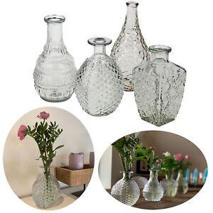 4 Retro Glas-Vase 20cm Klar Set Deko Tisch-Vase Blumenvase Mini Väschen Flaschen
