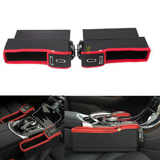 1 Pair Leather Car Seat Storage Box Catcher Gap Filler Console Side Pocket