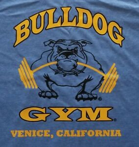 Bulldog Gym Venice California Workout Bodybuilding Royal / Vintage Gold T-Shirt