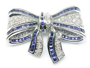 2.10ct Natural Round Diamond Blue Sapphire 14K White Gold Brooch Pin