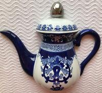 Bombay Teapot Wall Hanging Plaque Vintage Blue & White Gorgeous!