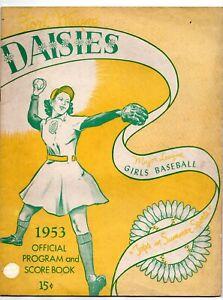 1953 Fort Wayne Daisies vs South Bend Blue Sox Program Girls Pro Baseball