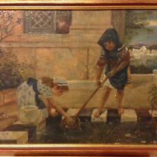 Encantador Pintura al óleo antigua de dos niños en un estanque de peces