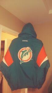 Vintage Miami Dolphins Throwback Pullover Starter Jacket Large New! NFL