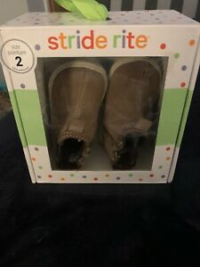 STRIDE RITE Lil Tabor BROWN SUEDE Infant Baby Boy Booties Shoes 2M 6-9 Month NEW