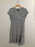 Lauren Ralph Lauren Dress Black White Striped Short Sleeve Flounce Hem Size M