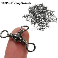 100 Pcs 3 Way Barrel Swivels Solid Rig Rings Fishing Connector Tackle All Size