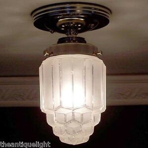 750 Vintage skyscraper Ceiling Light Lamp Fixture bath hall porch 1 of 3