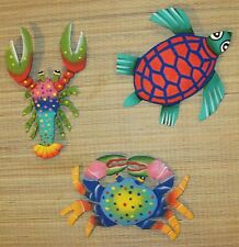 Set of 3 Hand painted Metal wall hangings, turtle, crab & lobster sea life decor