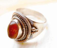 Verspielt Silberring 55 Bernstein Handarbeit Braun Silber Vintage Design Ring