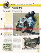 PIAGGIO MP3 125 et 250 Scooter à 3 roues Joe Bar Team Fiche Moto #008856
