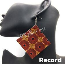 Africa Print Wood Earrings W/ Carved African Diamond Ethnic Afrocentric Record