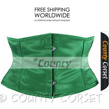 Full Steel Boned Waspie Shaper Cincher Mini Waistbust Sexy Green Satin Corset