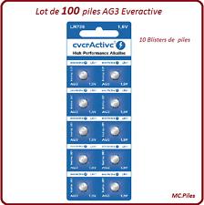 Lot 100 piles boutons AG3/LR41 alcaline Everactive, livraison rapide et gratuite