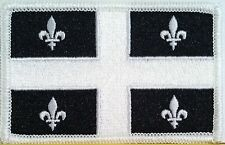 Quebec Canada Tactical Flag Iron-On Patch Black & White MC ARMY Biker Emblem